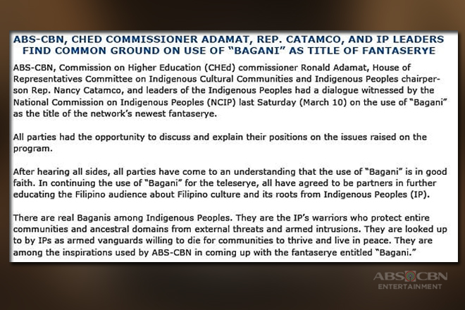 """ABS-CBN, CHED commissioner Adamat, Rep. Catamco, and IP leaders find common ground on use of """"Bagani"""" as title of fantaserye"""
